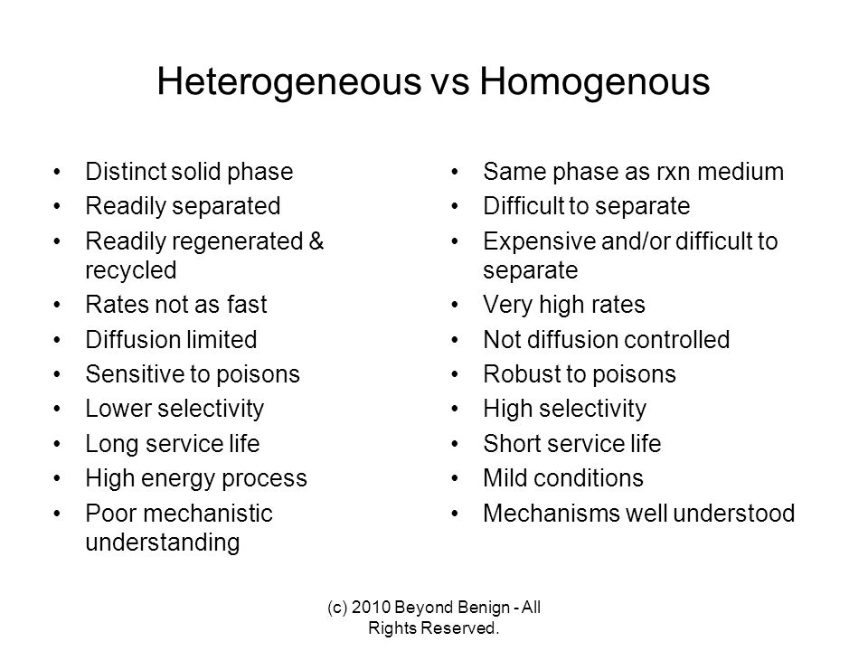 Heterogeneous vs Homogenous Distinct solid phase Readily separated Readily regenerated & recycled Rates not as fast Diffusion limited Sensitive to poi