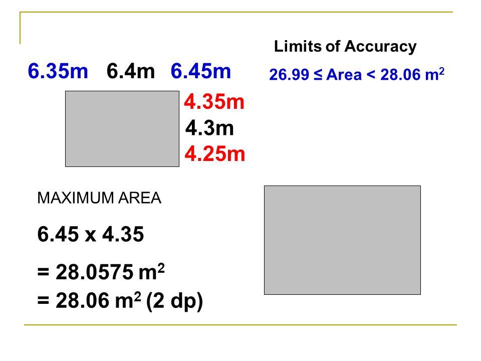 6.4m 4.3m 6.45m6.35m 4.35m 4.25m MINIMUM AREA 6.35 x 4.25 = 26.9875m 2 = 26.99m 2 (2 dp)