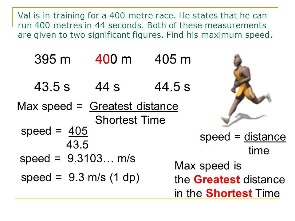 6.4m 4.3m 6.45m6.35m 4.35m 4.25m MAXIMUM AREA 6.45 x 4.35 = 28.0575 m 2 = 28.06 m 2 (2 dp) Limits of Accuracy 26.99 ≤ Area < 28.06 m 2