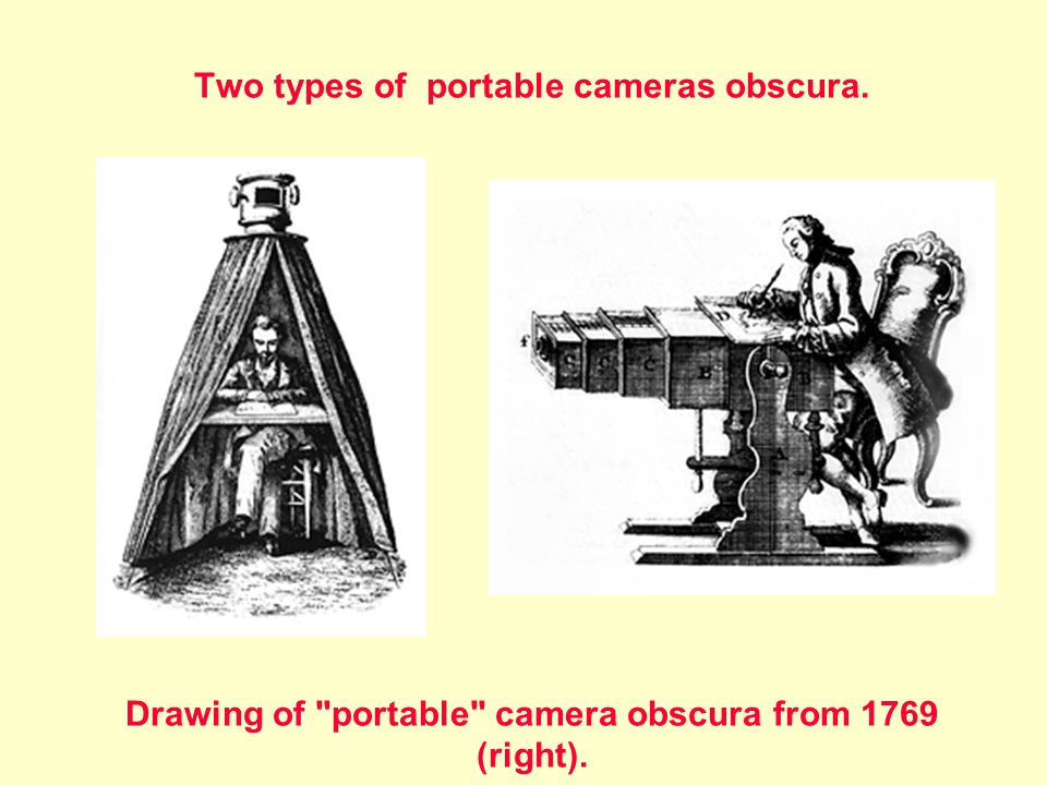 Two types of portable cameras obscura. Drawing of portable camera obscura from 1769 (right).
