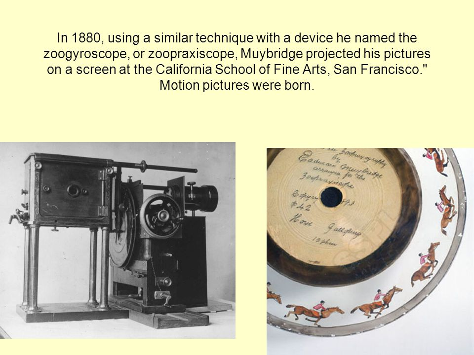In 1880, using a similar technique with a device he named the zoogyroscope, or zoopraxiscope, Muybridge projected his pictures on a screen at the California School of Fine Arts, San Francisco. Motion pictures were born.