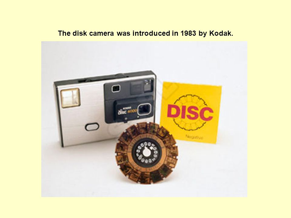 The disk camera was introduced in 1983 by Kodak.
