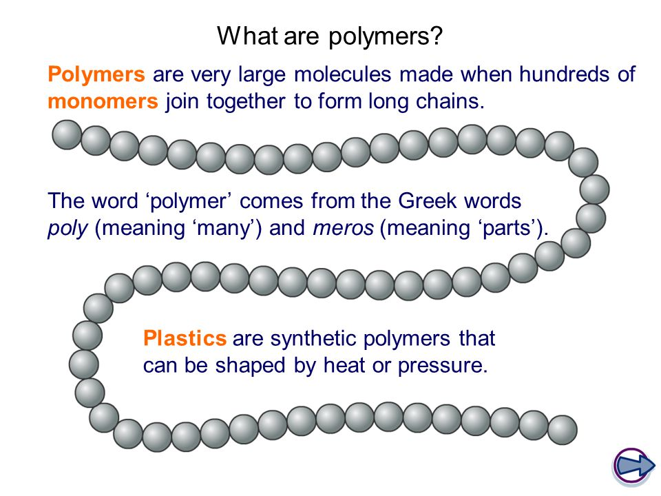 The word 'polymer' comes from the Greek words poly (meaning 'many') and meros (meaning 'parts'). Polymers are very large molecules made when hundreds