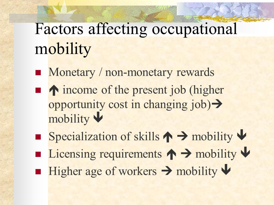 Factors affecting occupational mobility Monetary / non-monetary rewards  income of the present job (higher opportunity cost in changing job)  mobili