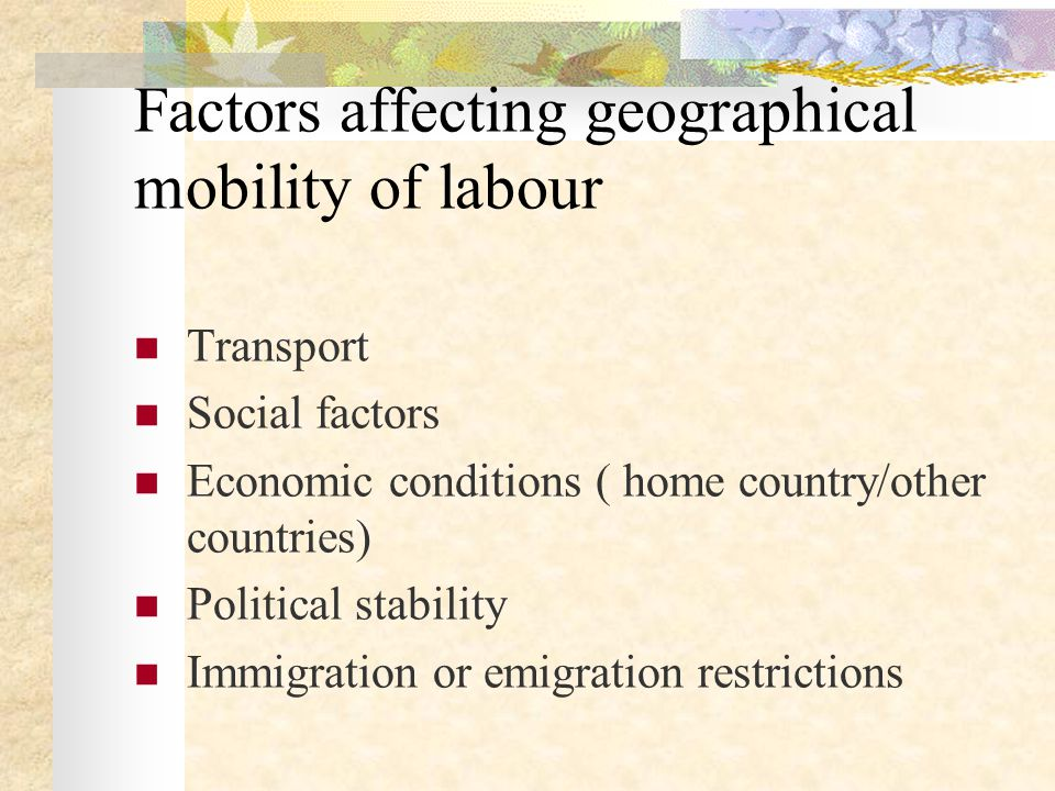 Factors affecting geographical mobility of labour Transport Social factors Economic conditions ( home country/other countries) Political stability Immigration or emigration restrictions