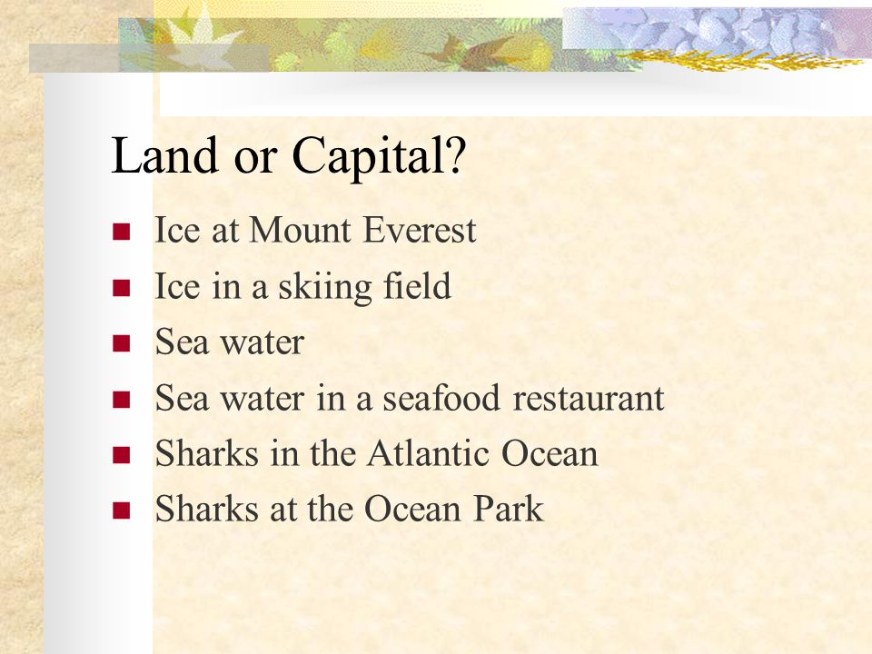 Land or Capital? Ice at Mount Everest Ice in a skiing field Sea water Sea water in a seafood restaurant Sharks in the Atlantic Ocean Sharks at the Oce
