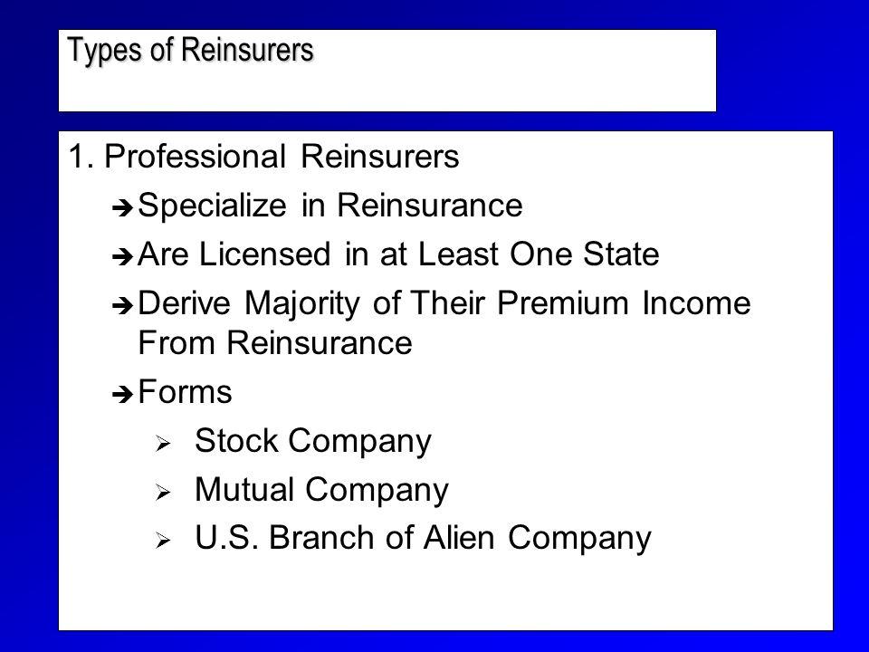 Types of Reinsurers 1.