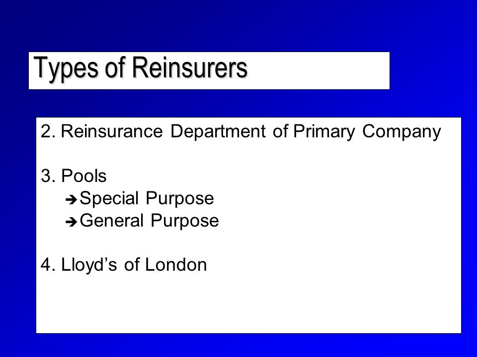 Types of Reinsurers 2. Reinsurance Department of Primary Company 3.