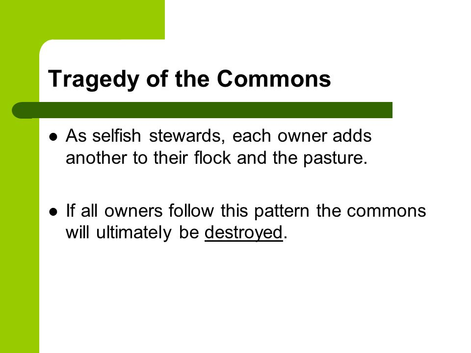 Tragedy of the Commons As selfish stewards, each owner adds another to their flock and the pasture. If all owners follow this pattern the commons will