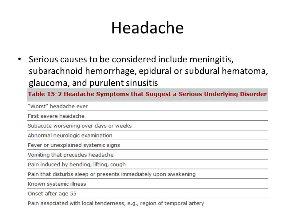Headache Serious causes to be considered include meningitis, subarachnoid hemorrhage, epidural or subdural hematoma, glaucoma, and purulent sinusitis