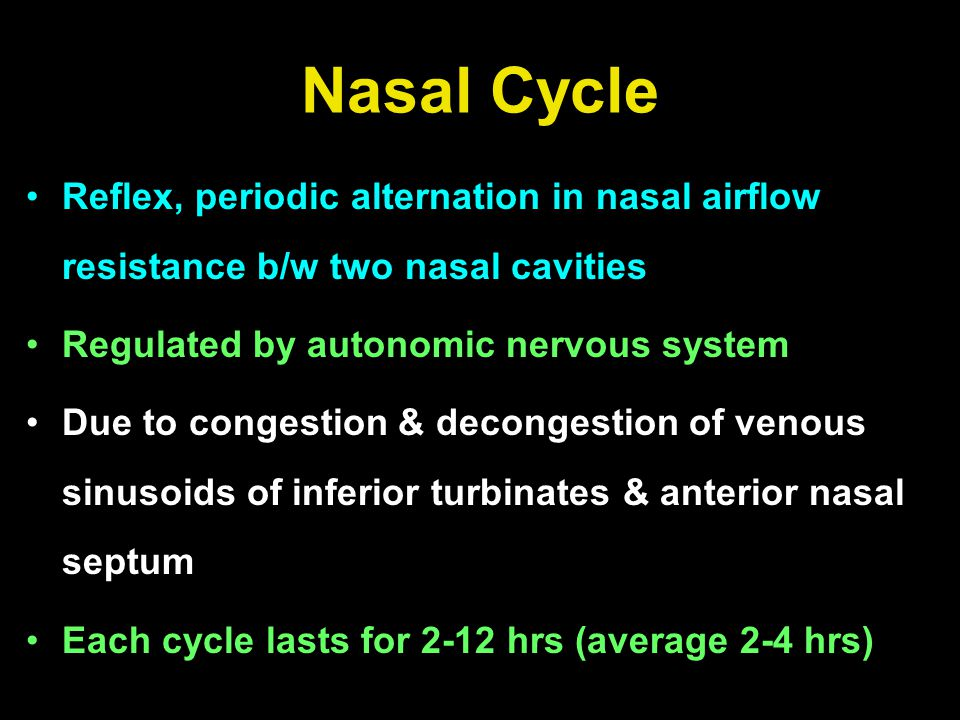 Reflex, periodic alternation in nasal airflow resistance b/w two nasal cavities Regulated by autonomic nervous system Due to congestion & decongestion