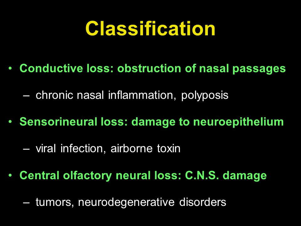 Classification Conductive loss: obstruction of nasal passages – chronic nasal inflammation, polyposis Sensorineural loss: damage to neuroepithelium –