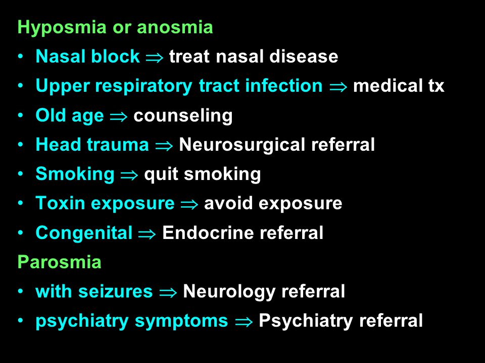 Hyposmia or anosmia Nasal block  treat nasal disease Upper respiratory tract infection  medical tx Old age  counseling Head trauma  Neurosurgical