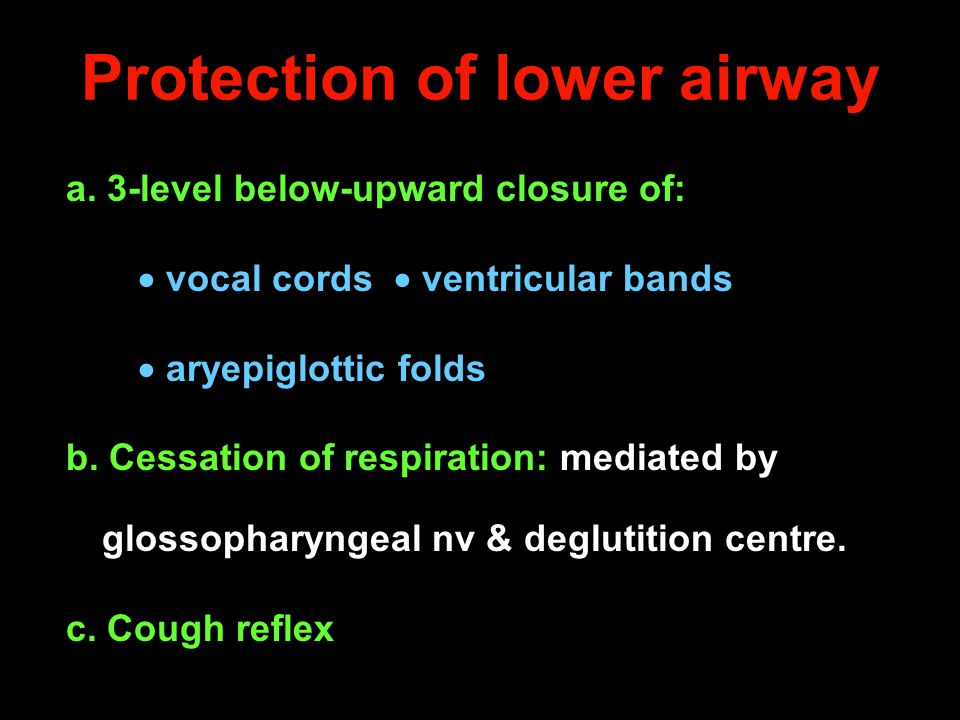 Protection of lower airway a. 3-level below-upward closure of:  vocal cords  ventricular bands  aryepiglottic folds b. Cessation of respiration: me