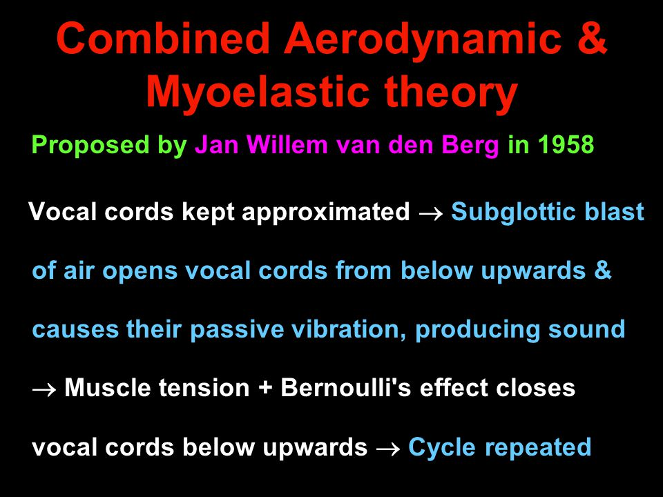 Combined Aerodynamic & Myoelastic theory Proposed by Jan Willem van den Berg in 1958 Vocal cords kept approximated  Subglottic blast of air opens voc