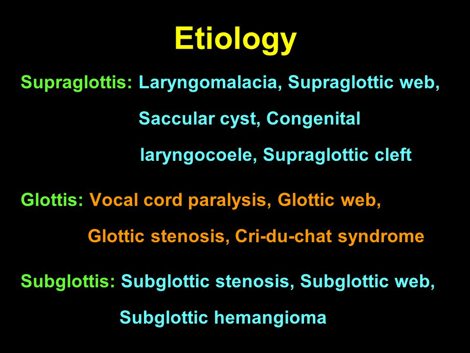 Common congenital lesions Laryngomalacia (60%) Congenital vocal cord paralysis (20%) Congenital subglottic stenosis (15%) Subglottic hemangioma (1.5%)