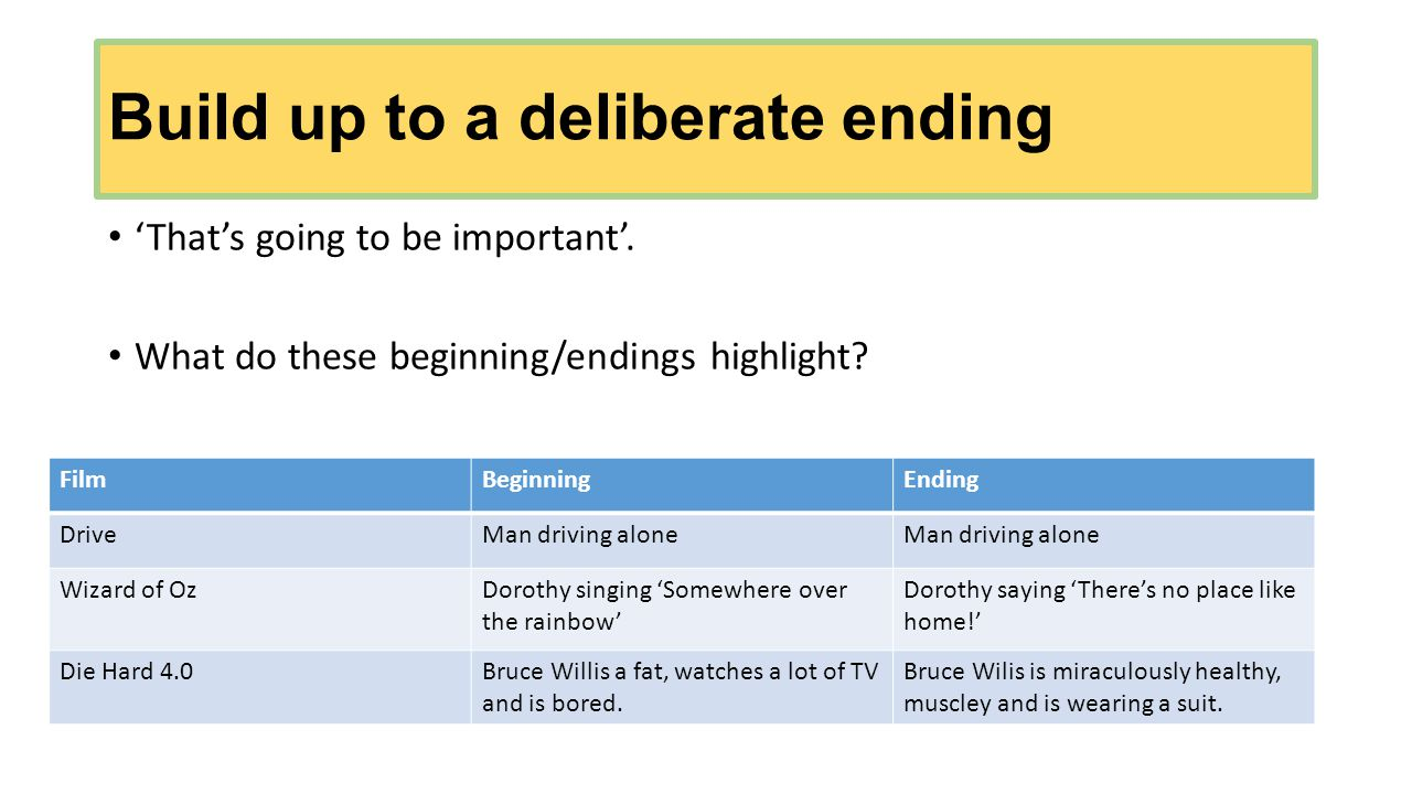 Build up to a deliberate ending 'That's going to be important'.