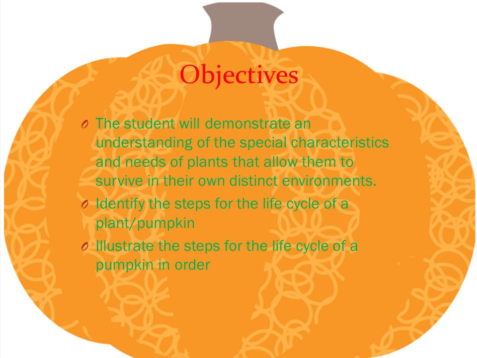 Objectives O The student will demonstrate an understanding of the special characteristics and needs of plants that allow them to survive in their own