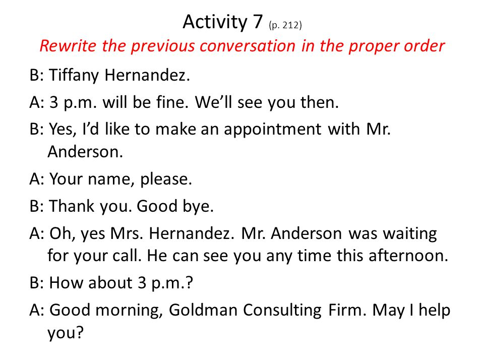 Activity 6 (P. 211) Write questions to the following responses.