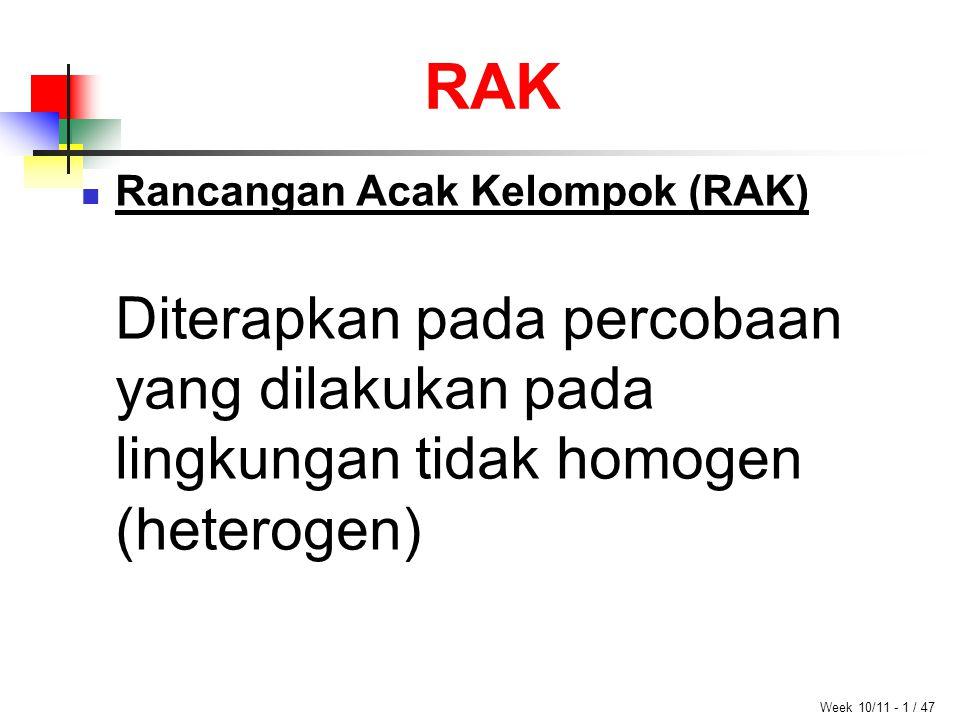 RAK Week 10/11 - 1 / 47 Rancangan Acak Kelompok (RAK) Diterapkan pada percobaan yang dilakukan pada lingkungan tidak homogen (heterogen)
