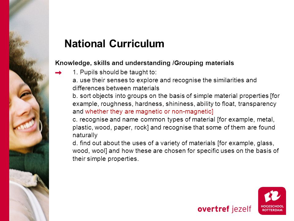 National Curriculum Knowledge, skills and understanding /Grouping materials 1.