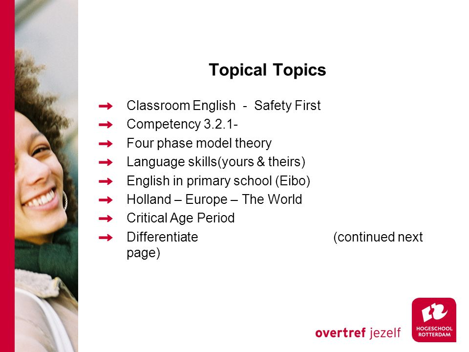 Topical Topics Classroom English - Safety First Competency Four phase model theory Language skills(yours & theirs) English in primary school (Eibo) Holland – Europe – The World Critical Age Period Differentiate(continued next page)