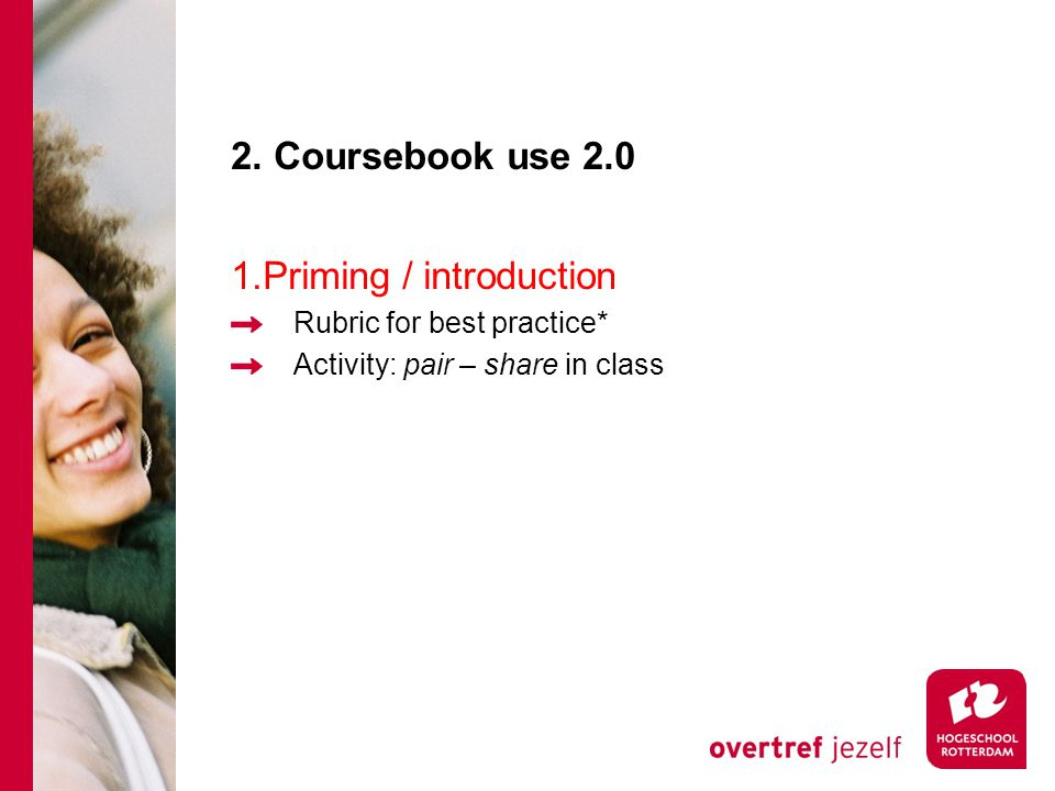 2. Coursebook use 2.0 1.Priming / introduction Rubric for best practice* Activity: pair – share in class