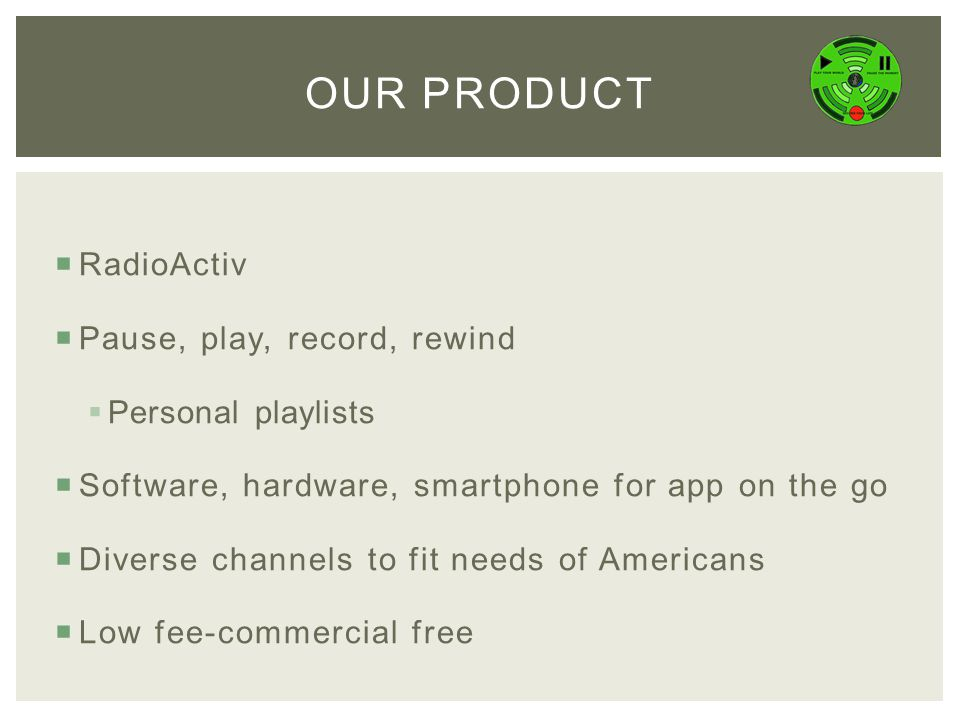  RadioActiv  Pause, play, record, rewind  Personal playlists  Software, hardware, smartphone for app on the go  Diverse channels to fit needs of Americans  Low fee-commercial free OUR PRODUCT