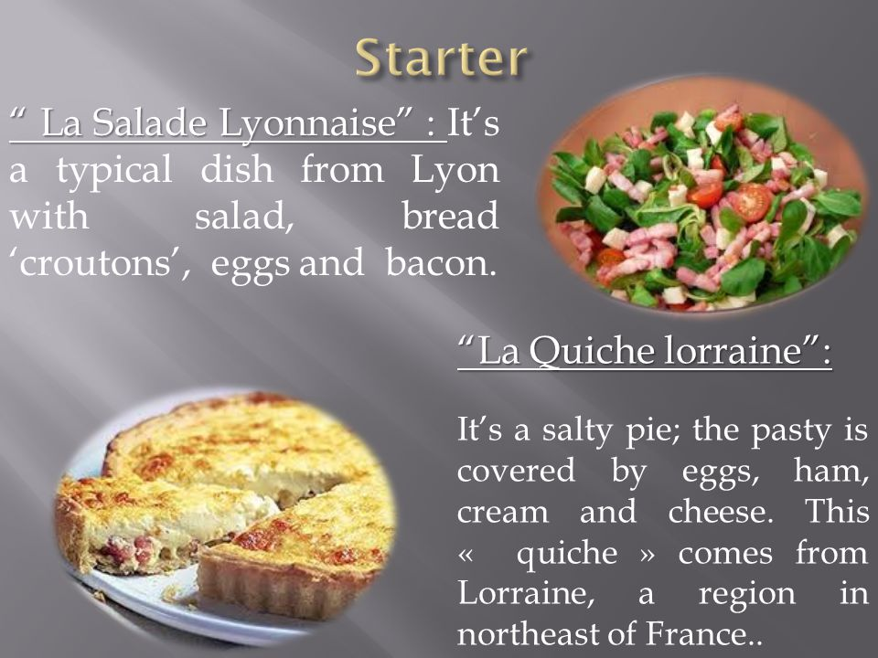 La Salade Lyonnaise : La Salade Lyonnaise : It's a typical dish from Lyon with salad, bread 'croutons', eggs and bacon.