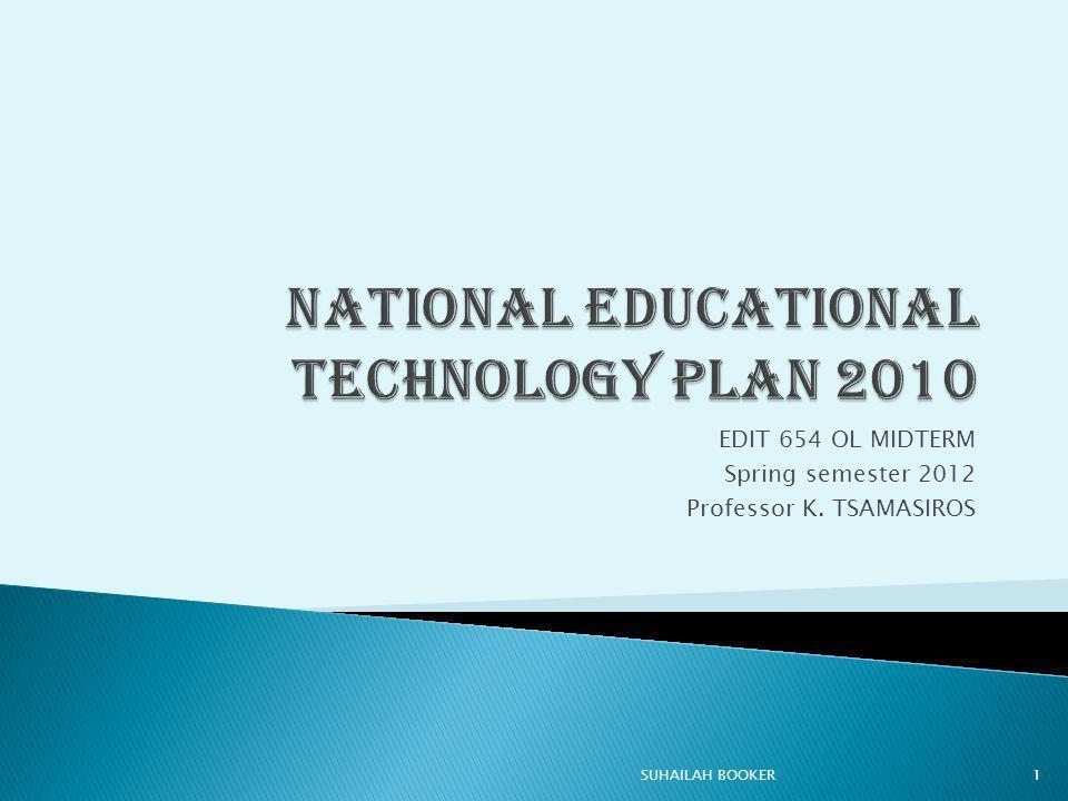 EDIT 654 OL MIDTERM Spring semester 2012 Professor K. TSAMASIROS 1SUHAILAH BOOKER