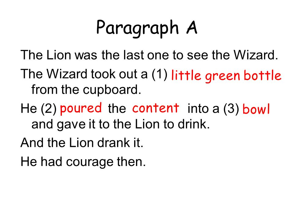 Paragraph A The Lion was the last one to see the Wizard.