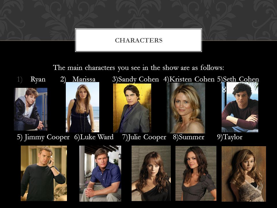 The main characters you see in the show are as follows: 1)Ryan 2) Marissa 3)Sandy Cohen 4)Kristen Cohen 5)Seth Cohen 5) Jimmy Cooper 6)Luke Ward 7)Julie Cooper 8)Summer 9)Taylor CHARACTERS