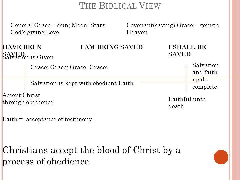 T HE B IBLICAL V IEW Accept Christ through obedience Salvation is Given Grace; Grace; Salvation is kept with obedient Faith Faith = acceptance of testimony Christians accept the blood of Christ by a process of obedience General Grace – Sun; Moon; Stars; God's giving Love Covenant(saving) Grace – going o Heaven HAVE BEEN SAVED I AM BEING SAVEDI SHALL BE SAVED Salvation and faith made complete Faithful unto death