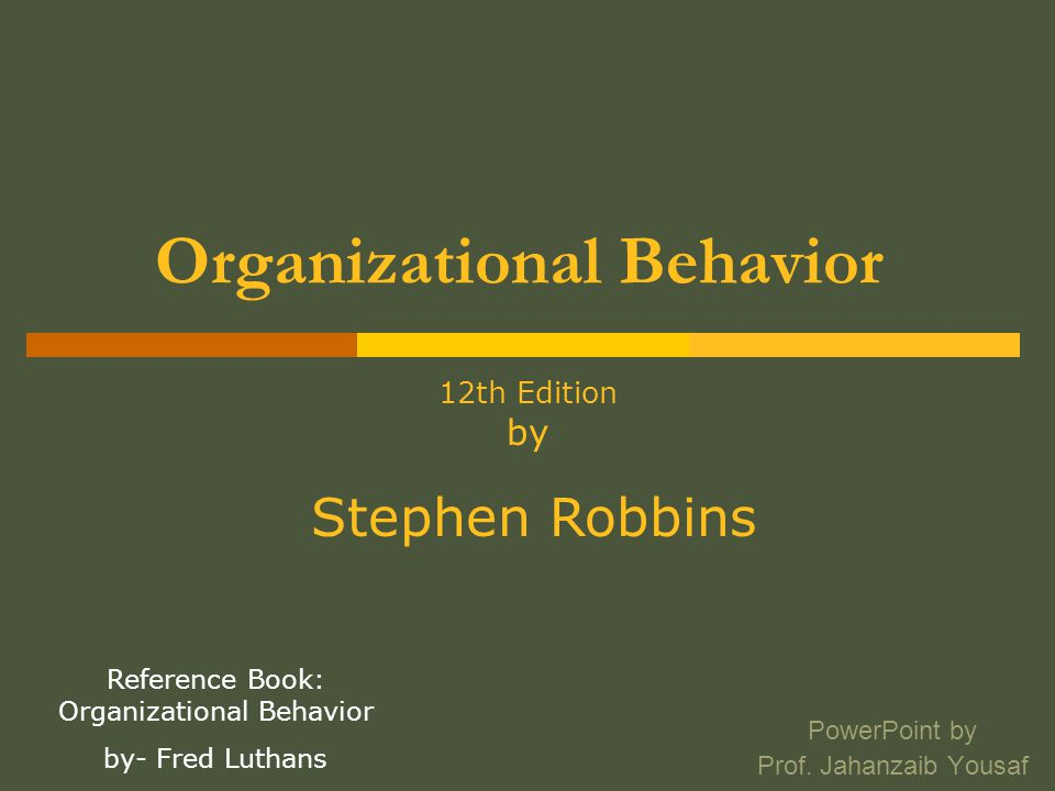 Foundations of Individual Behavior Chapter# 2