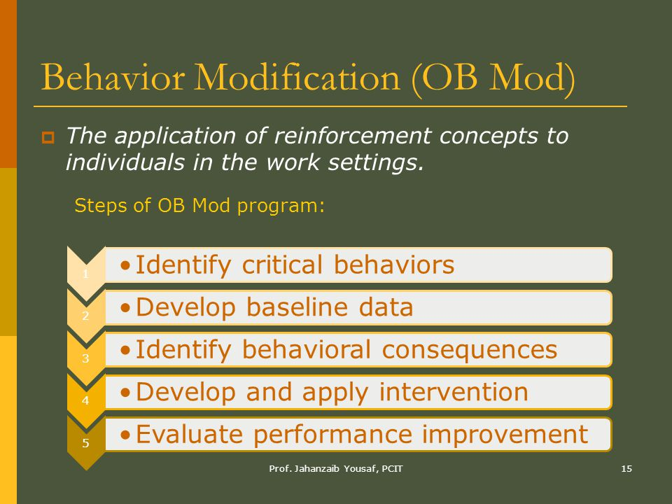 Prof. Jahanzaib Yousaf, PCIT15 Behavior Modification (OB Mod)  The application of reinforcement concepts to individuals in the work settings. 1 Ident