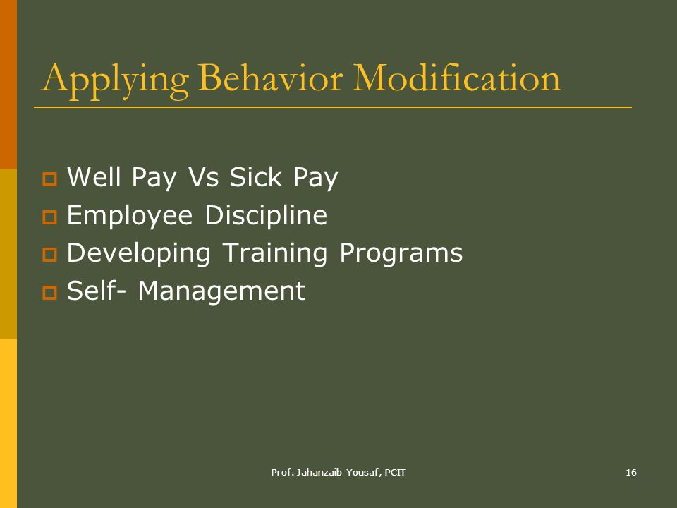 Prof. Jahanzaib Yousaf, PCIT16 Applying Behavior Modification  Well Pay Vs Sick Pay  Employee Discipline  Developing Training Programs  Self- Mana