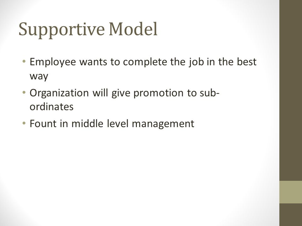 Supportive Model Employee wants to complete the job in the best way Organization will give promotion to sub- ordinates Fount in middle level managemen