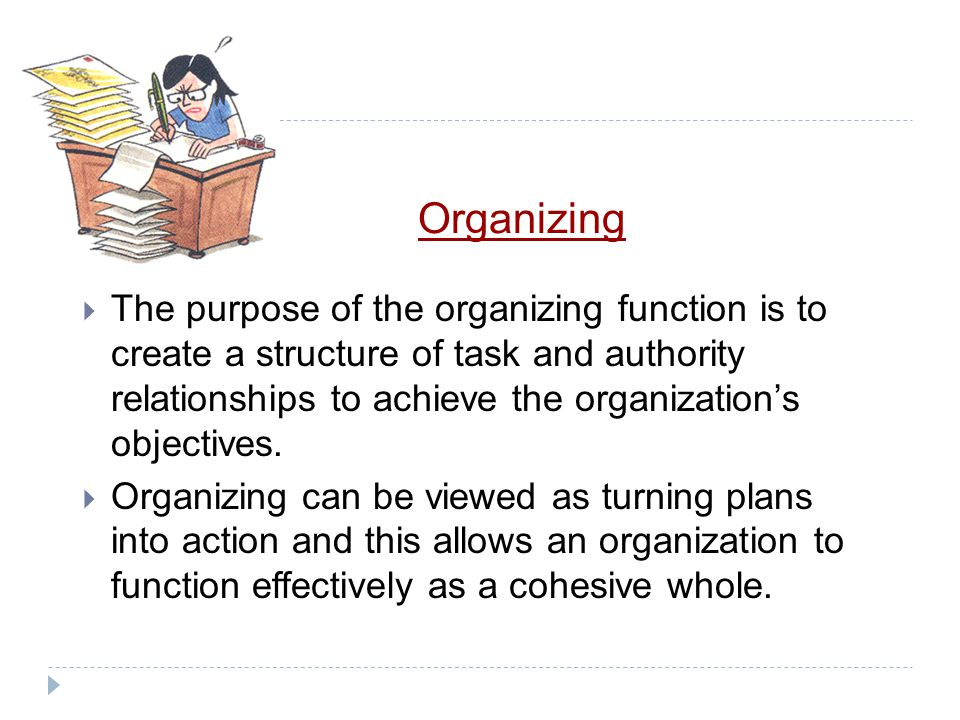 Planning  The organizing, leading, and controlling functions all come from planning. How? These functions carry out the planning decisions.  These p