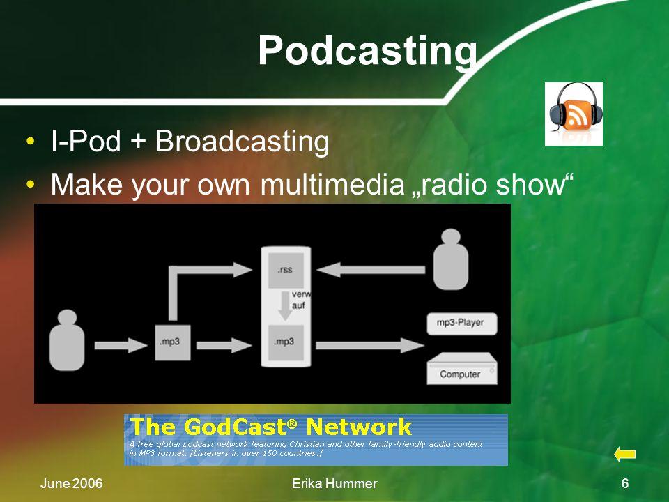 "June 2006Erika Hummer6 Podcasting I-Pod + Broadcasting Make your own multimedia ""radio show"
