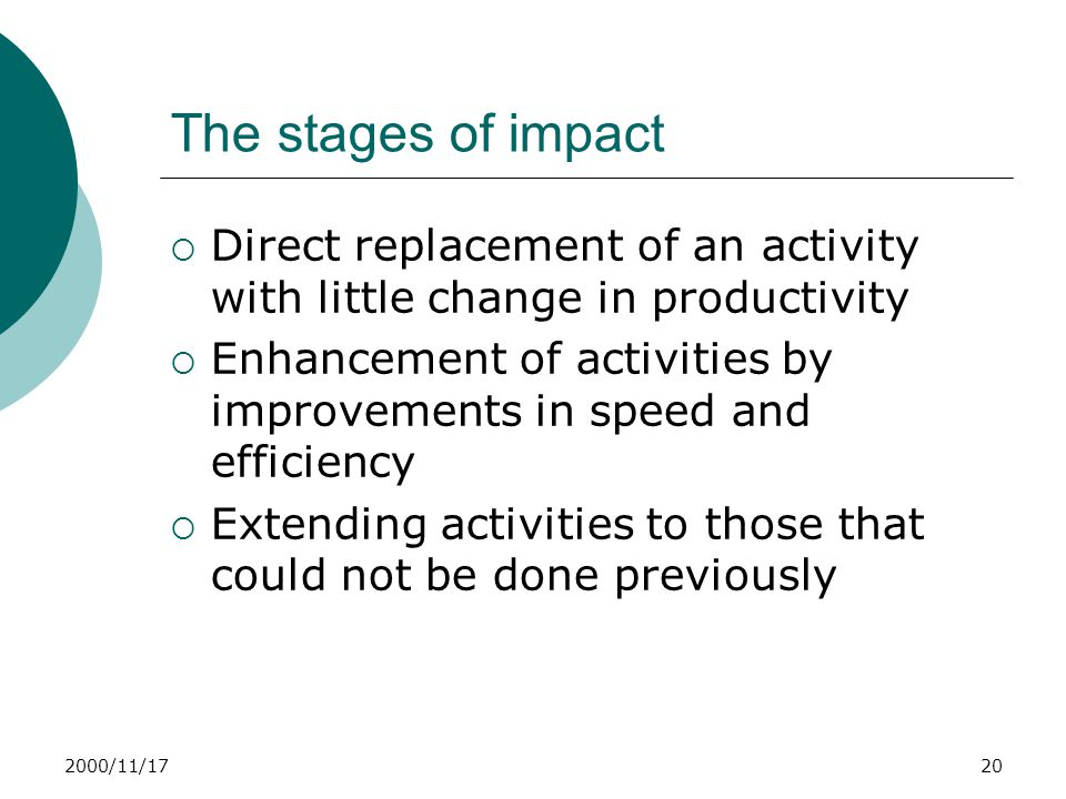 2000/11/1720 The stages of impact  Direct replacement of an activity with little change in productivity  Enhancement of activities by improvements in speed and efficiency  Extending activities to those that could not be done previously