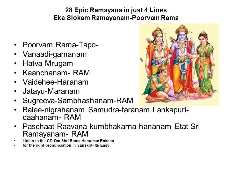 28 Epic Ramayana in just 4 Lines Eka Slokam Ramayanam-Poorvam Rama Poorvam Rama-Tapo- Vanaadi-gamanam Hatva Mrugam Kaanchanam- RAM Vaidehee-Haranam Ja