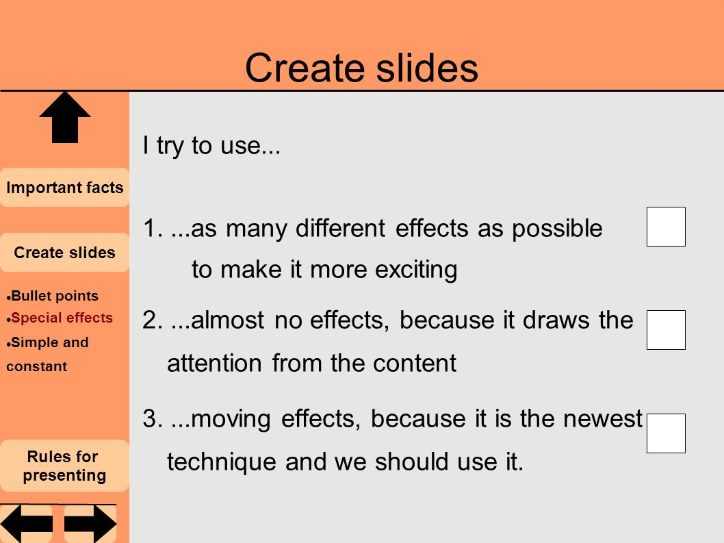 Create slides I try to use...