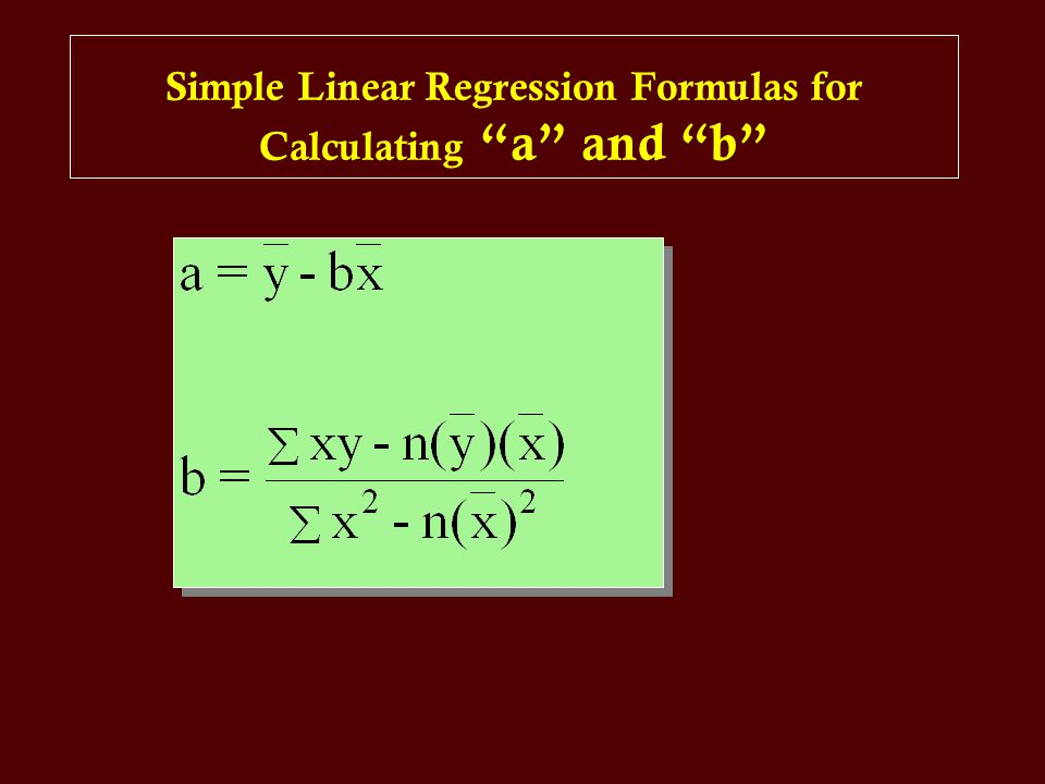 Simple Linear Regression Formulas for Calculating a and b