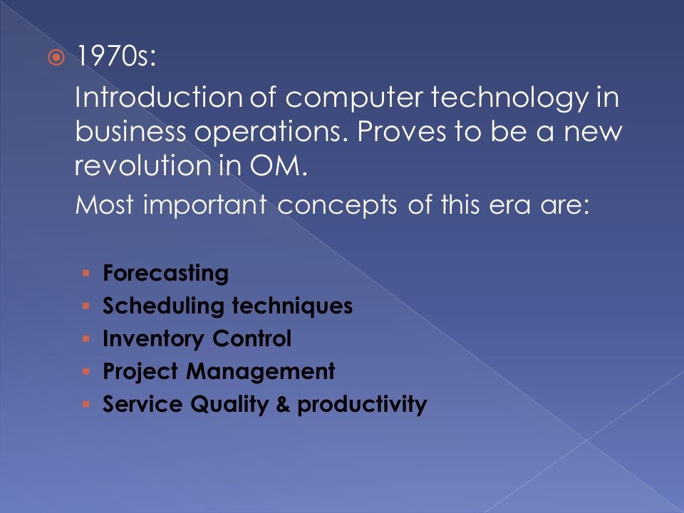  1970s: Introduction of computer technology in business operations.