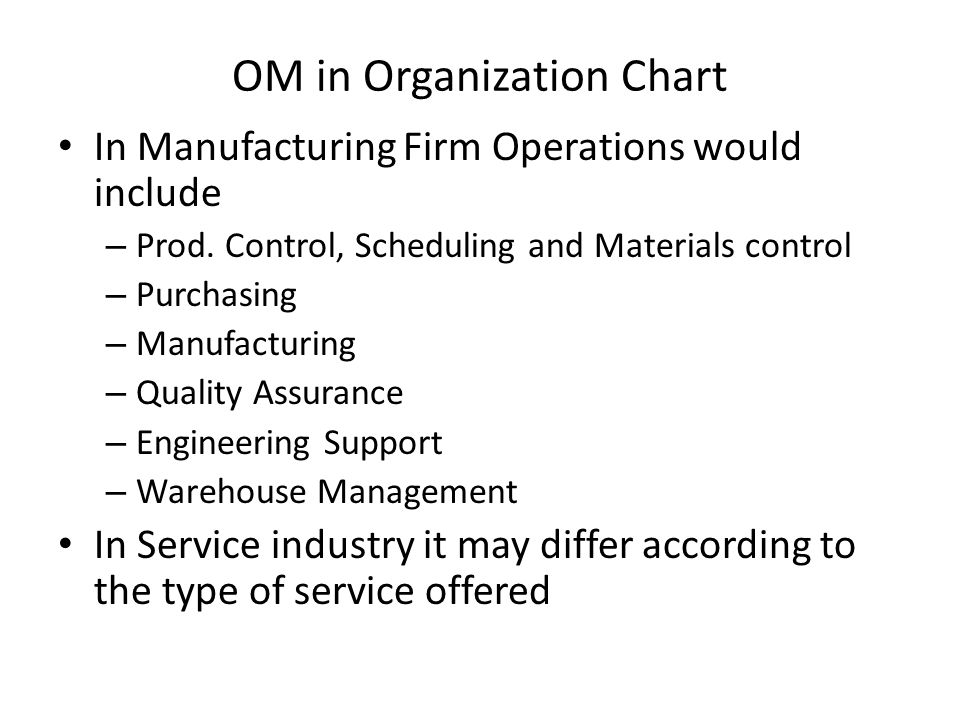 OM in Organization Chart In Manufacturing Firm Operations would include – Prod. Control, Scheduling and Materials control – Purchasing – Manufacturing