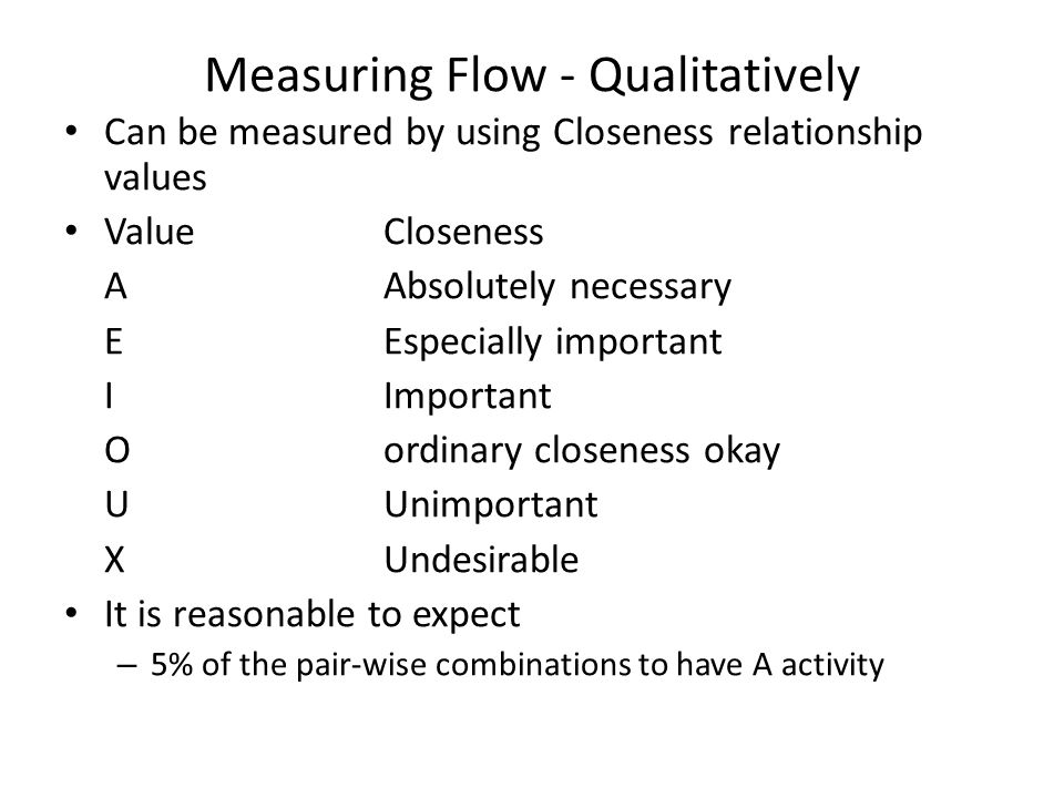 Measuring Flow - Qualitatively Can be measured by using Closeness relationship values ValueCloseness AAbsolutely necessary EEspecially important IImpo