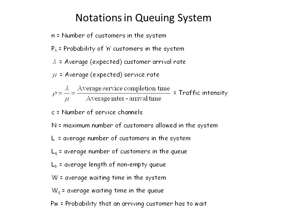 Notations in Queuing System