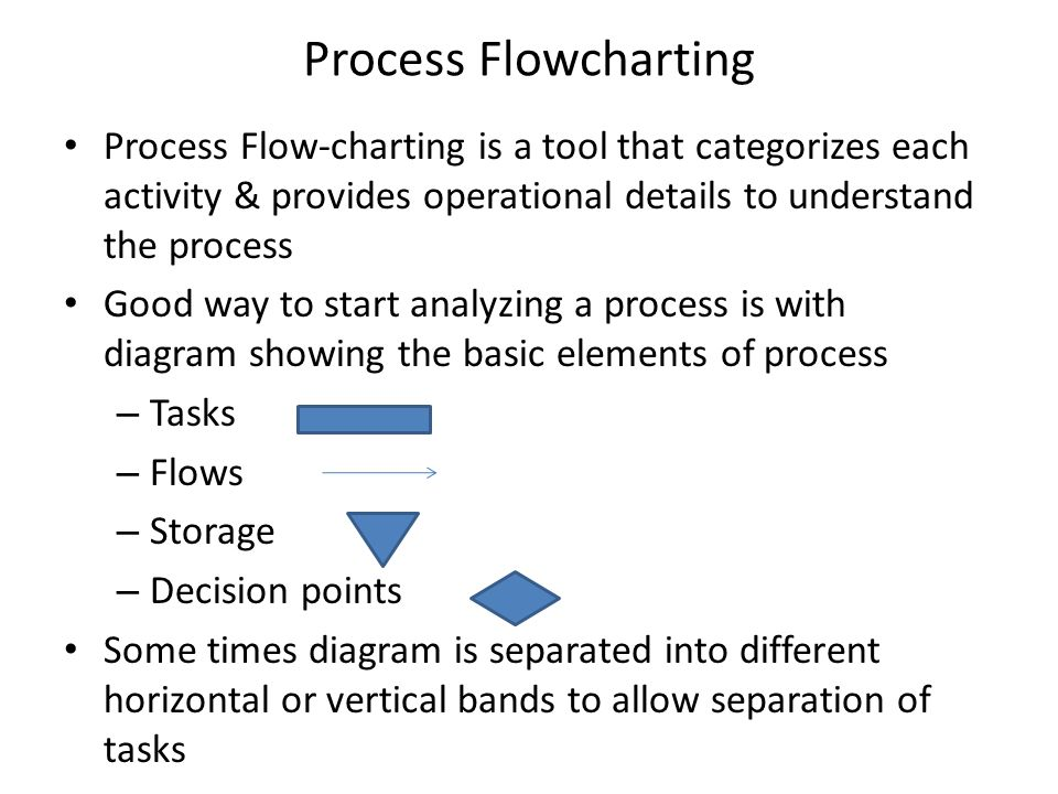 Process Flowcharting Process Flow-charting is a tool that categorizes each activity & provides operational details to understand the process Good way