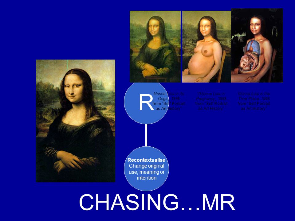 R Recontextualise Change original use, meaning or intention CHASING…MR Monna Lisa in its Origin, 1998 from