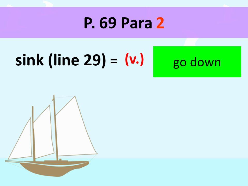 P. 69 Para 2 sink (line 29) = (v.) go down
